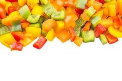 De mengeling hakte Kleurrijke Groene paprika Dichte Omhooggaande Mening IV Stock Foto's