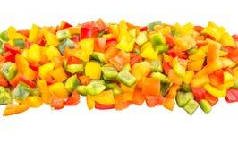 De mengeling hakte Kleurrijke Groene paprika Dichte Omhooggaande Mening VI Stock Foto's
