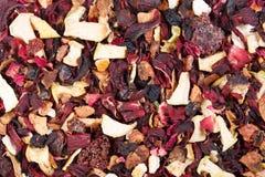 De Mengeling van de fruitthee Hibiscus, frambozen, sukade, sinaasappel, citroen Royalty-vrije Stock Foto