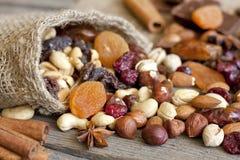 De mengeling van noten en droge vruchten Royalty-vrije Stock Afbeeldingen