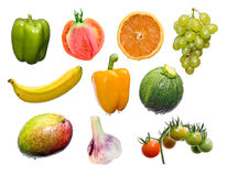 De mengeling van vruchten en van groenten stock fotografie