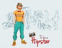 De menigte van de Hipsterjongen Stock Foto