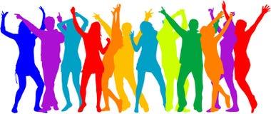De Menigte van de partij, mensensilhouetten - kleur Stock Foto's