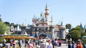 De menigte van de zomer in Disneyland stock afbeelding