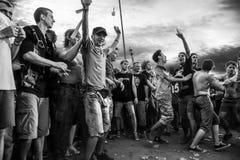 De menigte van het rotsoverleg in Przystanek Woodstock 2014 Royalty-vrije Stock Foto