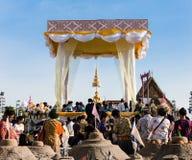 De menigte van het Songkranboeddhisme Stock Foto