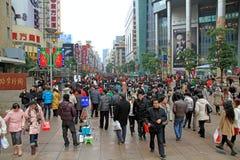 De menigten van de Weg van Nanjing Royalty-vrije Stock Foto