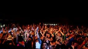 De menigteoverleg van DJ stock footage