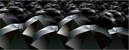De menigteregen van paraplu's brollys vector illustratie