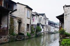 De mening in een Chinees traditioneel dorp stock afbeelding