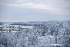 De mening opent met een snow-covered heuvel Stock Foto