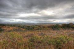 De mening over het Oosten Devon van Gemeenschappelijke Woodbury stock fotografie