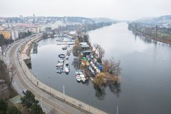 De mening over rivier in Praag Stock Foto