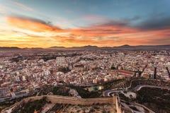 De mening van Alicante bij zonsondergang Royalty-vrije Stock Foto