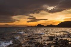 De mening van Alicante bij zonsondergang Stock Fotografie