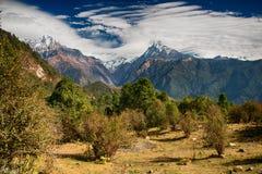 De mening van Annapurnabergen, Nepal Stock Foto's