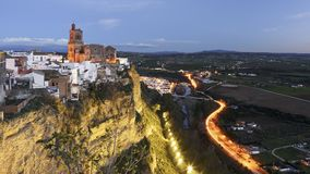 De Mening van Arcos de la Frontera van Parador Nacional Cadiz Spanje royalty-vrije stock afbeelding