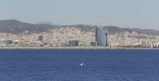 De mening van Barcelona van het overzees wijd stock foto's