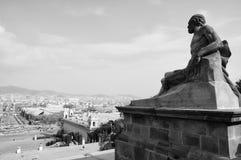 De mening van Barcelona van Montjuic Royalty-vrije Stock Afbeeldingen