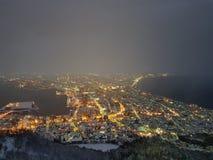 De mening van de de bergnacht van Hakodate stock afbeelding