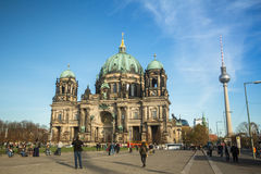 De mening van Berlin Cathedral (Berliner Dom) is de grootste Evangelische Kerk in Duitsland Stock Afbeeldingen