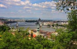 De mening van Boedapest van heuvel Gellert Royalty-vrije Stock Fotografie