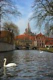 De mening van Brugge, Brugge van het kanaal. Royalty-vrije Stock Foto's