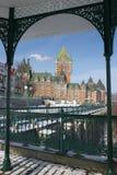 De mening van Chateaufrontenac van Dufferin-Terras, de Stad van Quebec Royalty-vrije Stock Afbeeldingen
