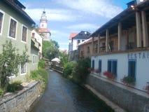De mening van de Český Krumlov rivier stock foto's
