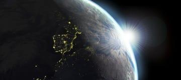 De mening van de aarde met dag en nachtgevolgen Stock Fotografie