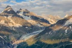 De mening van de Argentieregletsjer, Mont Blanc Massif, Frankrijk stock afbeelding