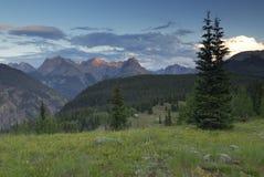 De mening van de avond in San Juan Mountains in Colorado Royalty-vrije Stock Afbeeldingen