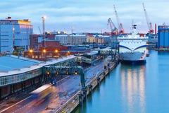 De mening van de avond van de Haven van Helsinki, Finland stock afbeeldingen