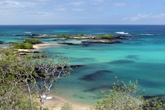 De Mening van de baai, de Galapagos Stock Foto's