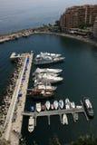 De mening van de Baai van de Zeilen van de Jachthaven van Monaco Monte Carlo Royalty-vrije Stock Foto's