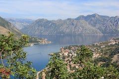 De mening van de Baai van Kotor stock afbeelding