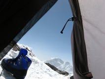 De Mening van de berg van Tent Royalty-vrije Stock Fotografie