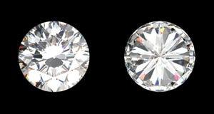 De mening van de bovenkant en van de bodem van grote diamant Stock Foto's