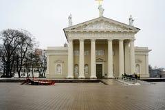 De mening van de de plaatswinter van de Vilniuskathedraal op 10 Februari Stock Afbeelding