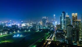 De mening van de de stadsnacht van Bangkok Stock Foto's