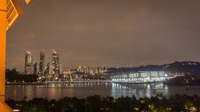 De mening van de de stadsnacht van Singapore Stock Foto