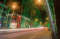 De Mening van de de Straatnacht van Teheran stock foto's