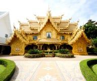 De mening van de doopvont van Wat Rong Khun in Chiang Rai Royalty-vrije Stock Foto