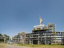 De mening van de gasraffinaderij van ochtend Stock Foto's