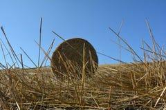 De mening van de grond op een stro verpakt met stro in balen Royalty-vrije Stock Afbeeldingen