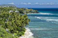 De mening van de hanaumabaai van Hawaï Oahu Stock Fotografie