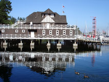 De Mening van de haven in Vancouver, Boten in Stanley Park Stock Foto's
