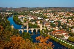 De mening van de herfst aan Pont Valentre, Cahors, Frankrijk Stock Afbeelding