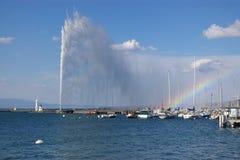 De mening van de het meerfontein van Genève royalty-vrije stock afbeelding