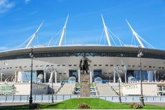 De mening van de het Stadion (Krestovsky) ander bouw nieuwe van voetbal heilige-Petersburg Stock Foto's